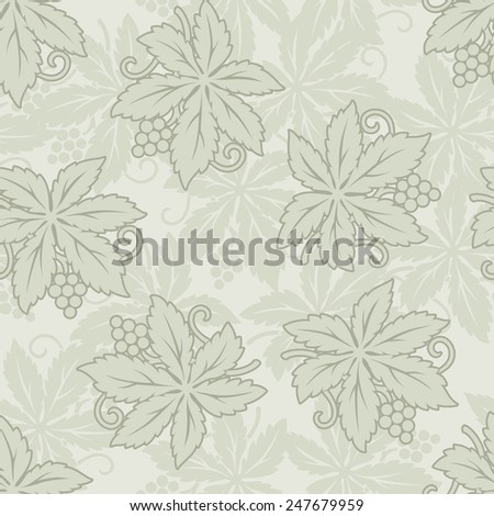 Vector vintage seamless with grapes and leaves - stock vector