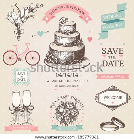 Vector vintage set of decorative wedding elements and hand drawn illustrations.   - stock vector