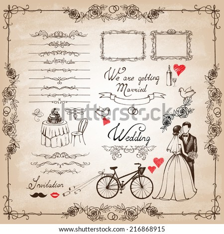 Vector vintage set of decorative wedding elements and hand drawn illustrations.
