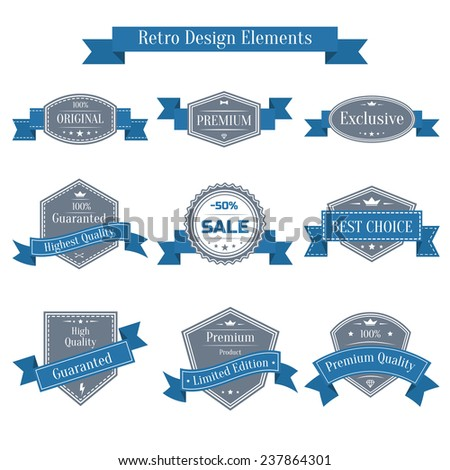 Vector vintage set of labels with blue ribbons. Guaranteed, premium quality, best choice, sale design element collection. Banners templates in retro style - stock vector