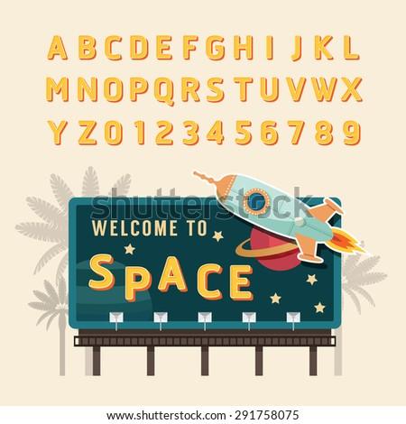 Vector vintage space rocket billboard sign, vintage signboard, vintage banner with fonts set . - stock vector
