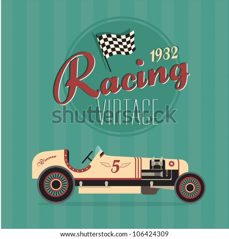 Vector vintage sport racing car - stock vector