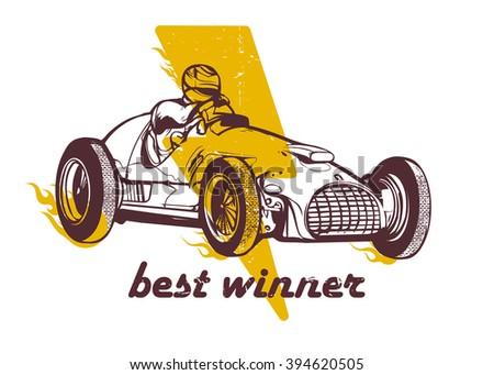 Vector vintage sport racing car - stock vector