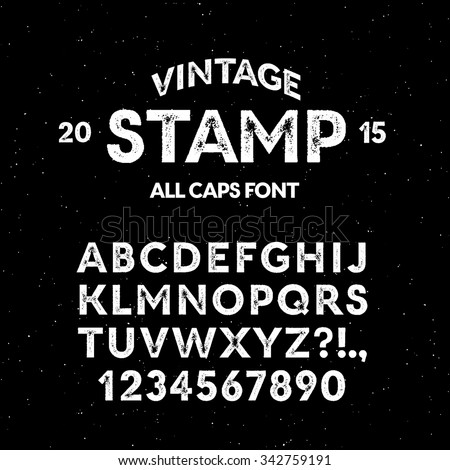 Vector vintage stamp all caps font. High quality design element. - stock vector