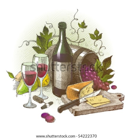 Vector vintage still life with wine - stock vector