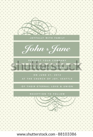 Vector Vintage Stripe and Dot Pattern and Frame. Easy to edit. Perfect for invitations or announcements. - stock vector