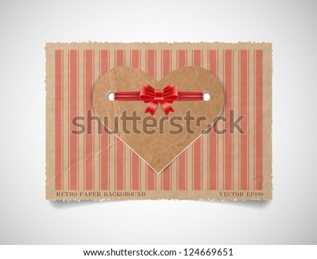 Vector vintage striped paper valentine's day greeting card template with a cardboard heart attached with silky ribbon - stock vector