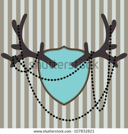 Vector vintage style antler with beads on striped background - stock vector