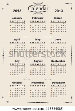 Vector 2013 vintage style calendar - stock vector
