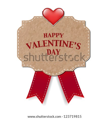 Vector vintage style old paper valentine's day greeting card decorated with red silky bow and a glossy heart - stock vector