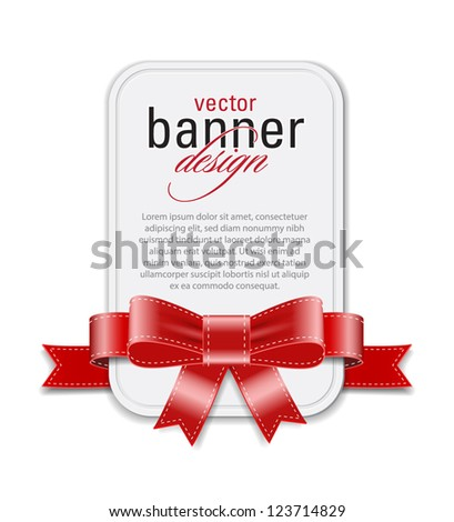 Vector vintage style white retro banner decorated with red satin ribbon and bow - stock vector