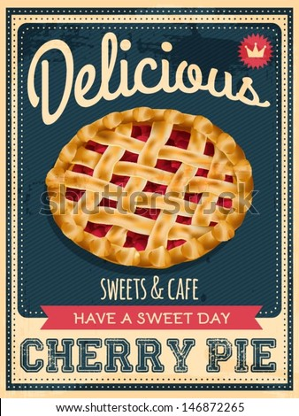 vector vintage styled cherry pie poster - stock vector