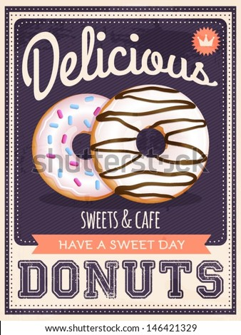 vector vintage styled donuts poster - stock vector
