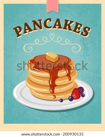 vector vintage styled pancakes poster - stock vector