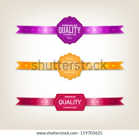 "Vector vintage tags / labels collection decorated with satin ribbons ""Premium quality"" - stock vector"
