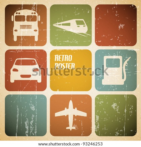 Vector vintage transport (traffic) poster with place for your text - stock vector