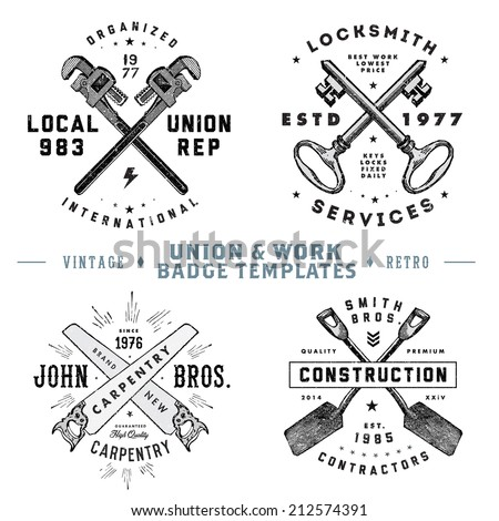 Vector vintage union and work badges. Easy to edit. All pieces are separated.  - stock vector