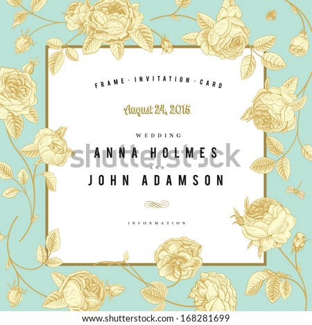 Vector vintage wedding card. Frame sketch garden roses with a gold outline on mint background. - stock vector