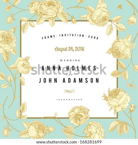 Vector vintage wedding card. Frame sketch garden roses with a gold outline on mint background.