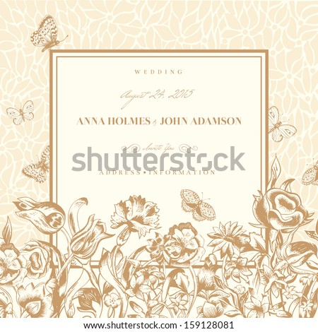Vector vintage wedding card with flowers and butterflies. Flowers, roses, tulips and carnations on a light beige background. - stock vector