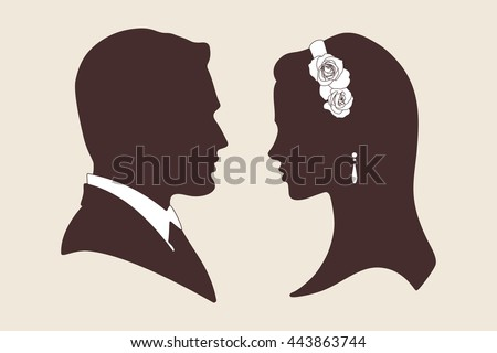 Vector Vintage Wedding Design Silhouettes Of Groom And Bride