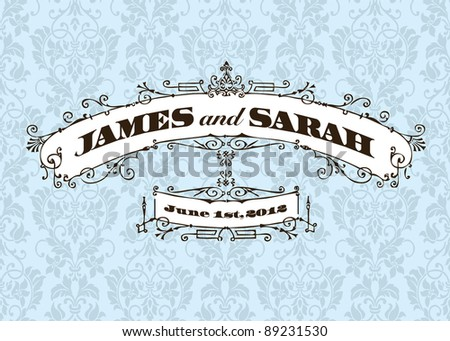 Vector Vintage Wedding Frame and Background. Easy to edit. Perfect for invitations or announcements. - stock vector