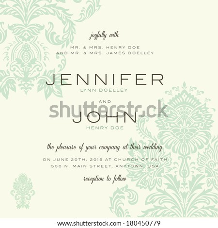 Vector vintage wedding invitation set. Easy to edit. Great for invitations and announcements. - stock vector