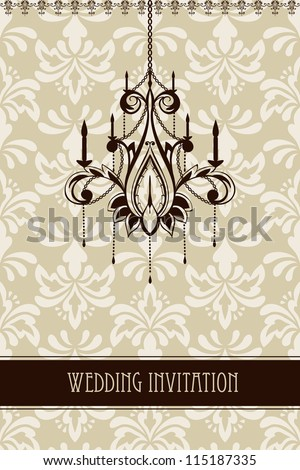 vector vintage wedding invitation with seamless floral ornament and chandelier,fully editable file,  seamless pattern in swatch menu, standart AI font - stock vector