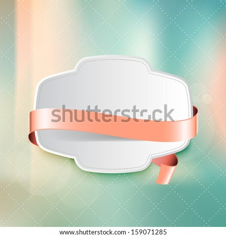 Vector vintage white plastic badge with pale pink ribbon over photographic unfocused background - stock vector