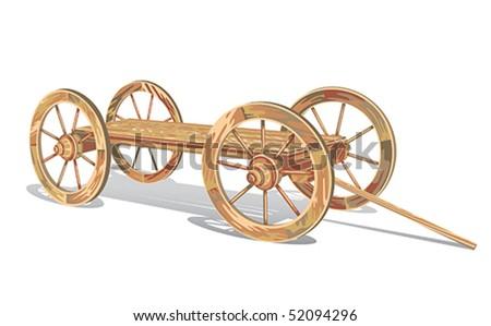 vector vintage wooden cart - stock vector