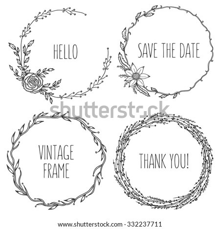 Vector vintage wreaths. Collection of trendy cute floral frames. Graphic design elements for wedding cards, prints, decoration, greeting cards. Hand drawn round illustration set. - stock vector