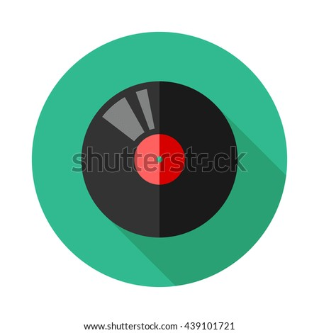 Vector vinyl record flat icon with long shadows