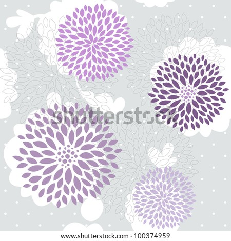 Vector violet flowers on grey seamless pattern - stock vector