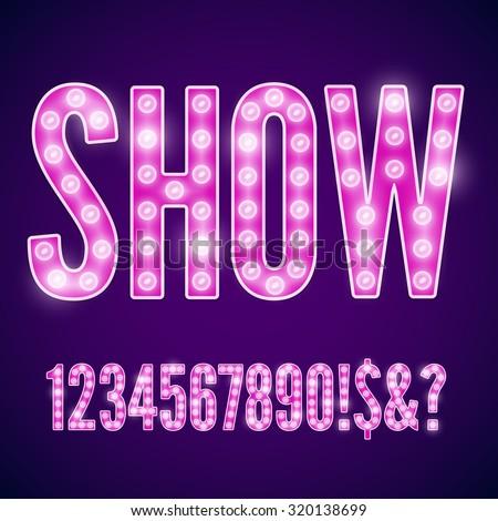 Vector violet pink neon lamp cinema font - numbers part - stock vector