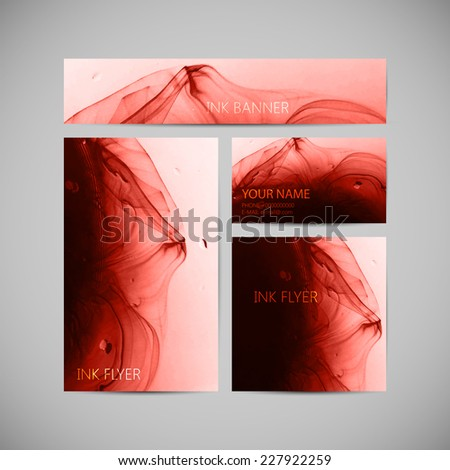 vector visual corporate identity with fluid ink swirling in water background. brand stationery template for web or print design. banner, business card, flyer, invitation, greeting card and postcard - stock vector