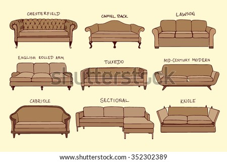 Vector visual guide of sofa design styles. Hand drawn sofa set made in linear style. Beautiful design elements, perfect for any business related to the furniture industry. - stock vector