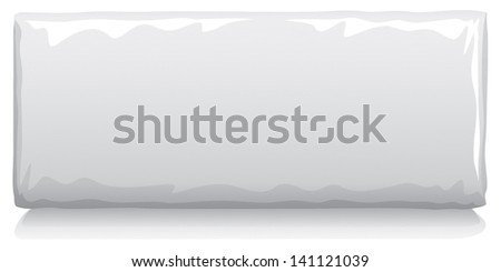 Vector visual of white plain wrap plastic film or foil packet, packaging or wrapper for snack food - biscuits, wafers, crackers, oat cakes, chocolate etc - stock vector