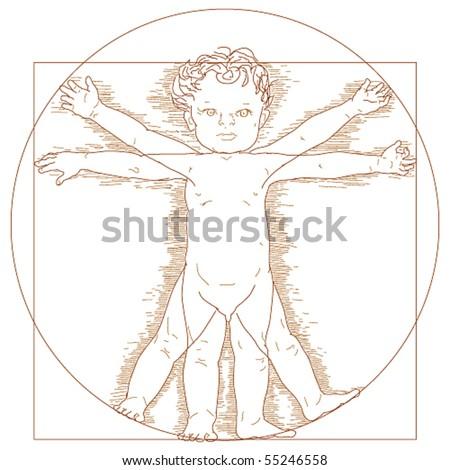 Vector Vitruvian child - stock vector