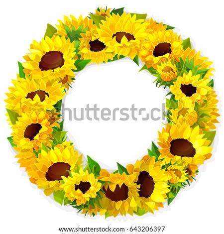 Vector Vivid Sunflower Frame Blossom Illustration Stock ...