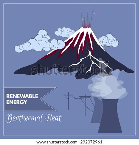 Vector volcano mountain representing geothermal heat as a source of renewable energy - stock vector