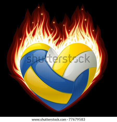 Vector volleyball on fire in the shape of heart - stock vector