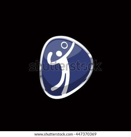 Vector Volleyball sport icon sign. Web button in chrome ring isolated on black background. Brazil Summer Games 2016 Rio de Janeiro. Chrome ring can be removed. Graphic illustration clip art element - stock vector