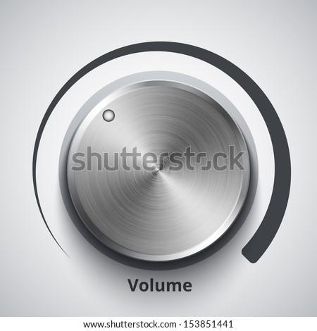 Vector volume knob with metal texture - stock vector