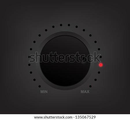 Vector volume music control / volume knob, for websites (UI) or applications (app) for smartphones or tablets. Plastic style - stock vector