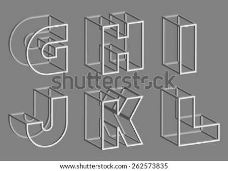 Vector Volume Wire Alphabet. Letters G H I J K L - stock vector