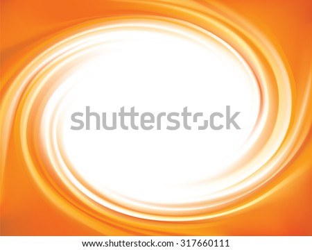 Vector vortex ripple backdrop with space for text in glowing white center. Beautiful curl fluid surface vivid hot terracotta color. Circle fresh mix sweet carrot, apricot and lemon dessert syrup  - stock vector