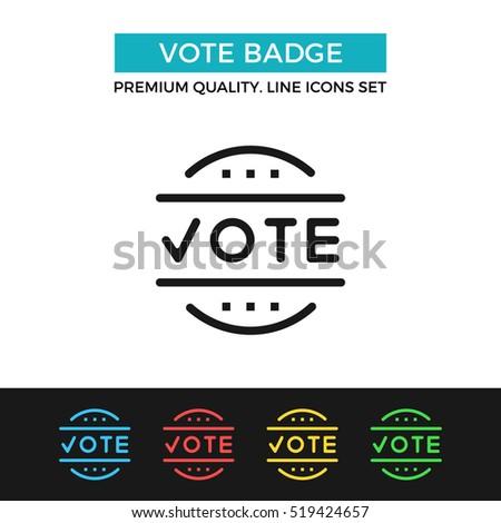 Vector Vote Badge Icon Election Voting Stock Vector 519424657