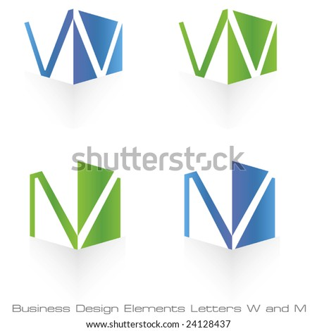 Vector W and M Cube and Shadow Element - stock vector