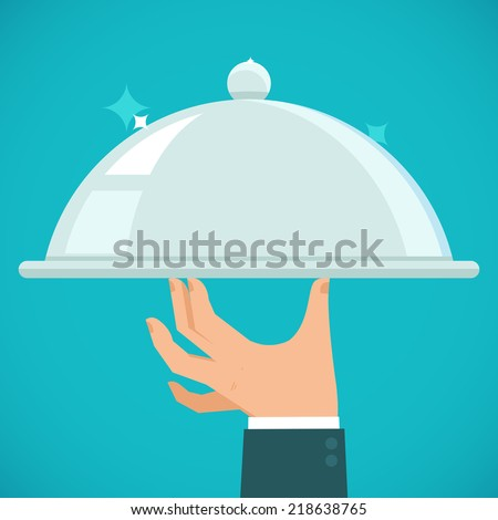 Vector waiter hand holding silver plate - concept in flat style - stock vector