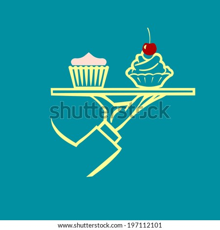 vector waiter's hand with tray and cupcakes , - stock vector